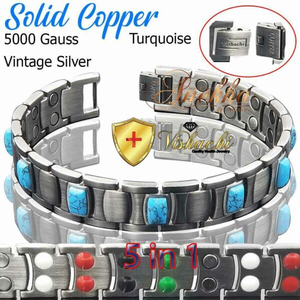 COPPER MAGNETIC BRACELET TURQUOISE PURE & SOLID COPPER THERAPY ARTHRITIS PC12VS