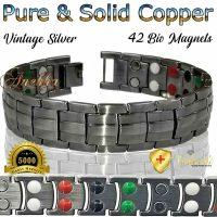 COPPER MAGNETIC BRACELET, VISHACH, PURE & SOLID VTG SILVER COPPER MEN ARTHRITIS THERAPY PC03SX