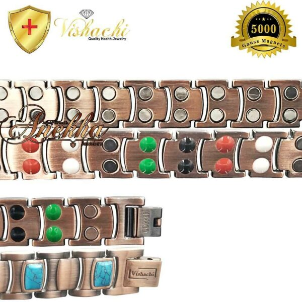 TURQUOISE-PURE-SOLID-COPPER-THERAPY-MAGNETIC-CHAKRA-BRACELET-MEN-ARTHRITIS-PC12