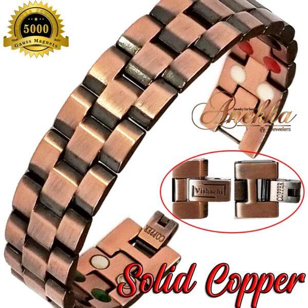COPPER MAGNETIC BRACELET, VISHACHI, PURE & SOLID COPPER MAGNETIC THERAPY BIO MEN ARTHRITIS PC01BV