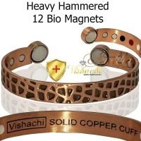 COPPER MAGNETIC BANGLE BRACELET 12 BIO PURE SOLID HAMMERED ARTHRITIS CB46D