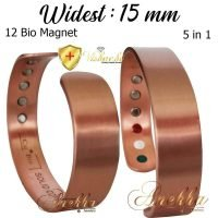 COPPER MAGNETIC BANGLE BRACELET PURE & SOLID, MEN WIDE 15mm VTG CB27V