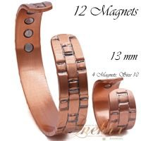 COPPER MAGNETIC BANGLE BRACELET, SOLID & PURE, 13 MM, +RING MEN VTG CB26