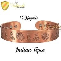 COPPER MAGNETIC BANGLE BRACELET, SOLID & PURE, CHUNKY INDIAN TEPEE CB59