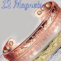 COPPER MAGNETIC BANGLE BRACELET, SOLID & PURE, FLORAL 12 MAGS ARTHRITIS CB25V