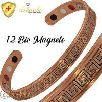 COPPER MAGNETIC BANGLE BRACELET, SOLID & PURE, GREEK KEY DESIGN MEN WOMEN CB28D