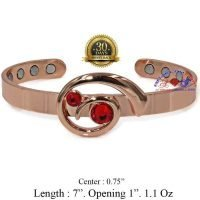 COPPER MAGNETIC BANGLE BRACELET, SOLID & PURE, RED CRYSTAL WOMEN CB22B