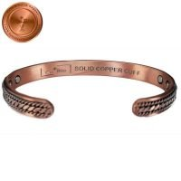 SOLID COPPER BANGLE BRACELET PURE & SOLID, LEN 7.5 MEN WOMEN VTG BRAIDED CB57B